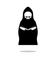 Death of reading book Grim Reaper in black cloak vector image