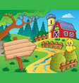 farm theme with red barn 3 vector image