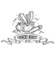Farmers market badge Monochrome vintage engraving vector image vector image