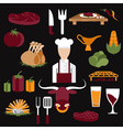 flat design icons of steak house food elements and vector image vector image