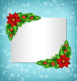 frame with poinsettia holly and pine on blue vector image vector image
