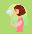girl playing soap bubbles vector image vector image