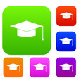 graduation cap set collection vector image vector image