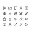 graphic design line icons drawing and art tools vector image vector image