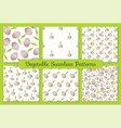 gray garlic flat vegetable seamless pattern set vector image vector image