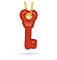 Heart shaped key Label tag hanging on golden chain vector image
