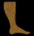 hexagon halftone leg icon vector image vector image