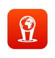 hologram globe icon digital red vector image vector image