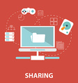 Icons for social network file sharing online vector image vector image