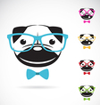 images of pug dog wearing glasses vector image