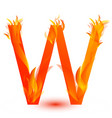 letter w in fire flame icon vector image