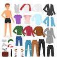 man clothing boy character dress up clothes vector image