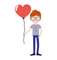 man with mustache and heart balloon in the hand vector image vector image