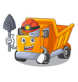miner truck on highway road with mascot vector image