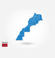 morocco map design with 3d style blue morocco map vector image vector image