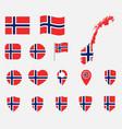 norway flag icons set national flag kingdom of vector image vector image