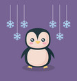 penguin with snowflakes character vector image