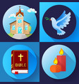 religion icons set color flat design vector image