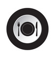 round black white button - cutlery with plate vector image vector image