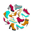 round shoes composition in cartoon style vector image vector image