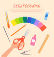 scrapbooking poster with stationary items vector image
