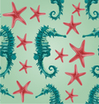 Seamless texture seahorse and starfish background vector image vector image