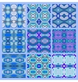 set of blue seamless colored vintage geometric vector image