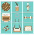 set of icons in flat design fitness equipment vector image vector image