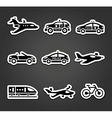 Set of sticky stickers transport pictograms vector image