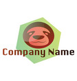 simple sloth logo inside green hexagon on white vector image vector image