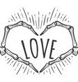 skeleton hand love sign on white vector image vector image