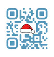 smartphone readable qr code merry xmas with santa vector image vector image