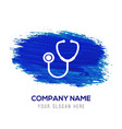 stethoscope icon - blue watercolor background vector image