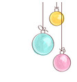 three watercolor christmas tree ball ornaments vector image