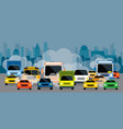 vehicles on road with traffic jam pollution vector image vector image