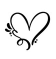 vintage calligraphic love heart sign vector image vector image