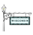 Wisconsin retro pointer lamppost vector image vector image