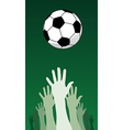 soccer ball and hands vector image