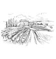 Vineyard hand drawn realistic vector image