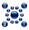 Glossy blue buttons vector image