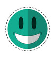 smiling thumbs emoticon style cut line vector image