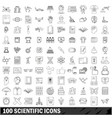 100 scientific icons set outline style vector image vector image
