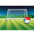 a ball at field with flag czech vector image vector image