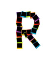 Alphabet R with colorful polaroids vector image vector image