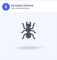 ant icon filled flat sign solid pictograph vector image vector image