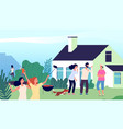 backyard party young people laughing jumping on vector image vector image