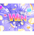 big win abstract theme with golden coins vector image vector image