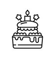 birthday cake line icon concept sign outline vector image