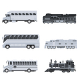 Bus truck and train set vector image