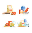 cartoon cooking ingridients or groceries vector image vector image